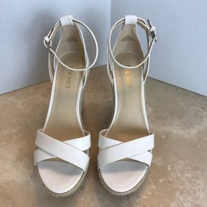Nine West White Patent Leather Wedges